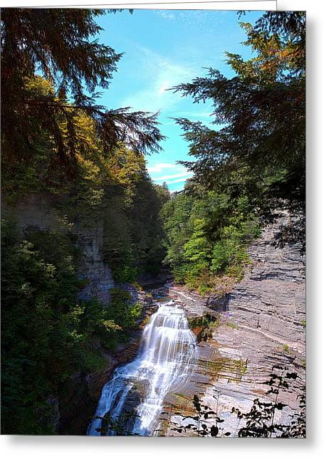 Lucifer Falls In Robert H. Treman State Park New York Greeting Card by Paul Ge