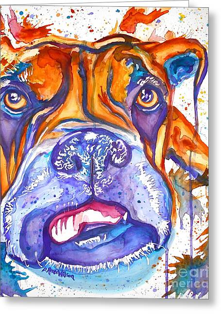 Lucille Boxer Blues  Greeting Card by D Renee Wilson