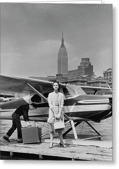 Lucille Cahart With Small Plane In Nyc Greeting Card by John Rawlings