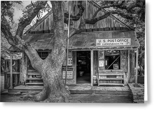 Luckenbach 2 Black And White Greeting Card by Scott Norris