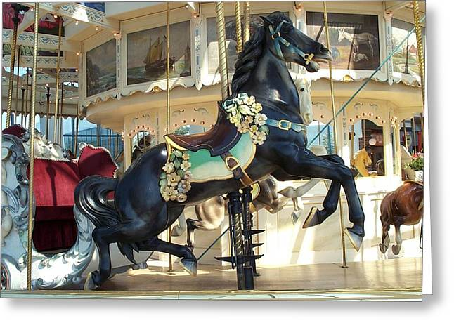 Greeting Card featuring the photograph Lucky Black Pony - Syracuse Ptc No 18 by Barbara McDevitt