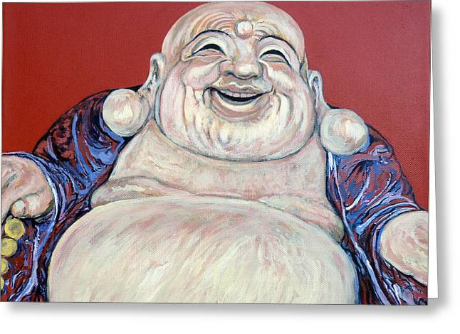 Lucky Buddha Greeting Card by Tom Roderick