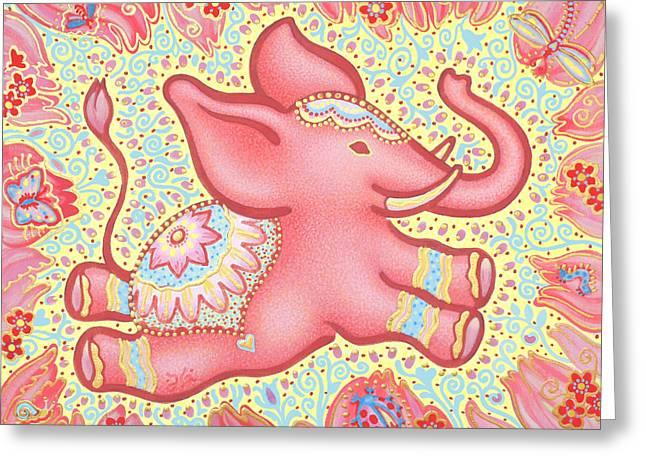Lucky Elephant Pink Greeting Card by Judith Grzimek