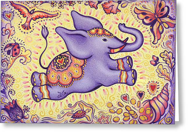 Lucky Elephant Purple Greeting Card by Judith Grzimek