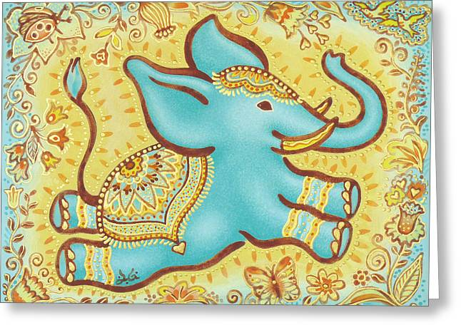 Lucky Elephant Turquoise Greeting Card by Judith Grzimek