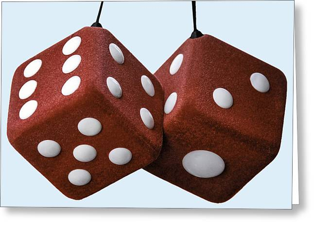 Lucky Fuzzy Red Dice  Greeting Card