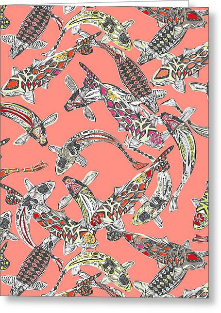Lucky Koi Coral Greeting Card by Sharon Turner