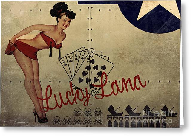Lucky Lana Noseart Greeting Card by Cinema Photography