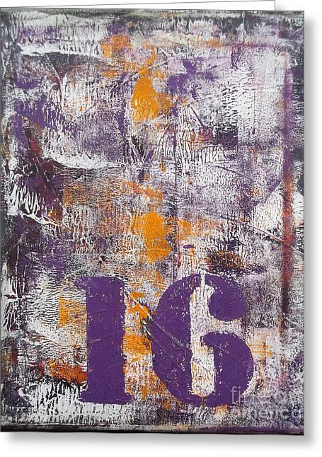Lucky Number 16 Purple Orange Grey Abstract By Chakramoon Greeting Card by Belinda Capol