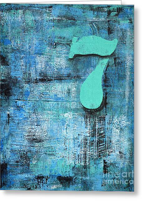 Lucky Number 7 Blue Turquoise Abstract By Chakramoon Greeting Card by Belinda Capol