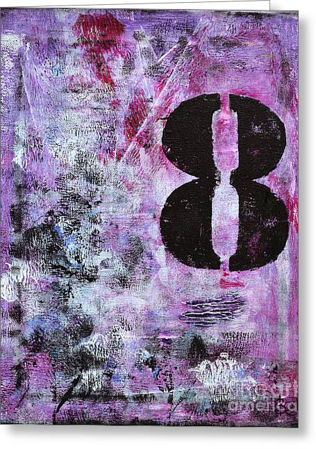 Lucky Number 8 Pink Black White Abstract By Chakramoon Greeting Card by Belinda Capol