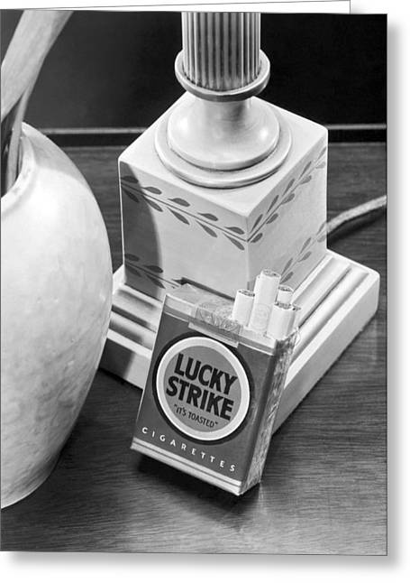 Lucky Strike Cigarettes Pack Greeting Card by Underwood Archives