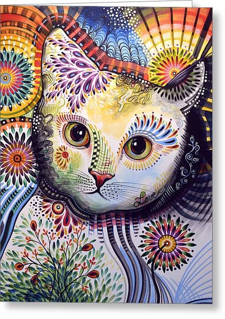 Lucy ... Abstract Cat Art Greeting Card by Amy Giacomelli