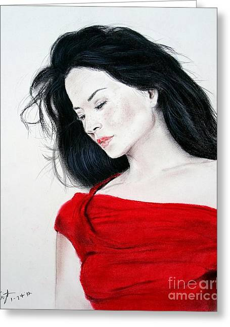 Lucy Liu The Lady In Red Greeting Card by Jim Fitzpatrick