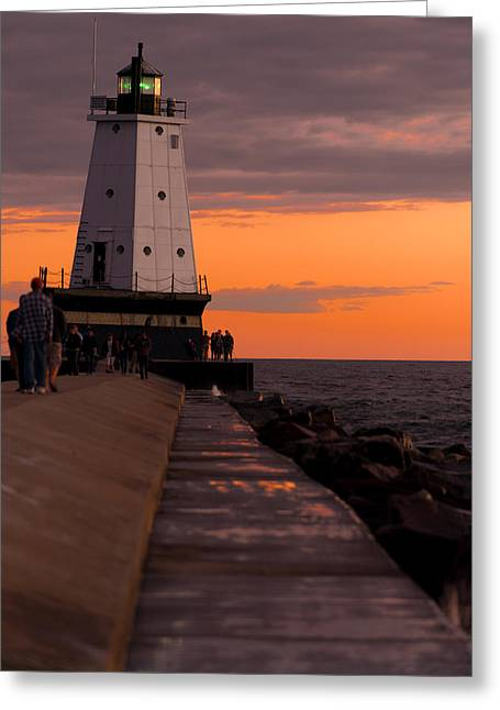 Ludington Pier And Lighthouse Greeting Card