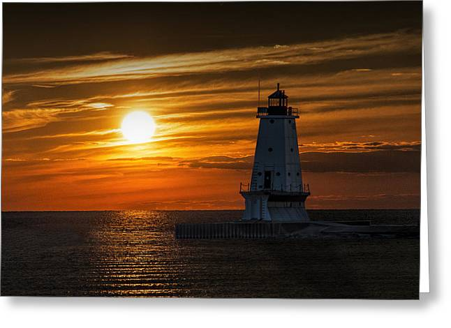 Ludington Pier Lighthead At Sunset Greeting Card by Randall Nyhof