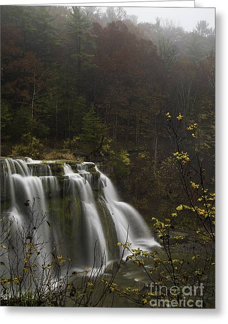 Ludlowville Falls In Autumn I Greeting Card by Michele Steffey