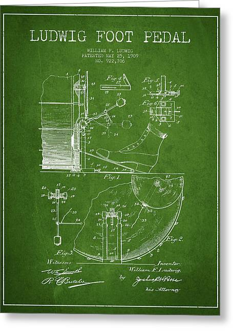 Ludwig Foot Pedal Patent Drawing From 1909 - Green Greeting Card by Aged Pixel