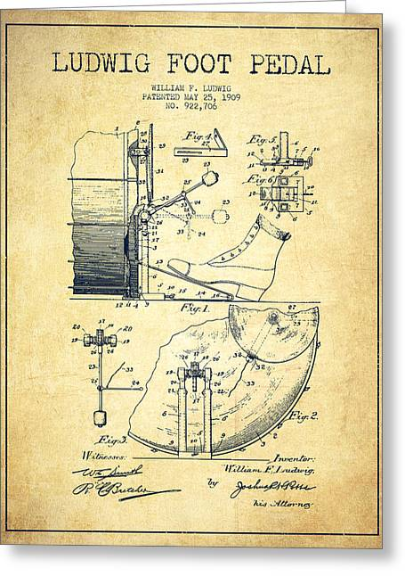 Ludwig Foot Pedal Patent Drawing From 1909 - Vintage Greeting Card by Aged Pixel