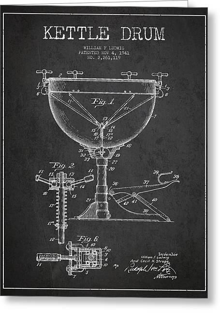 Ludwig Kettle Drum Drum Patent Drawing From 1941 - Dark Greeting Card by Aged Pixel