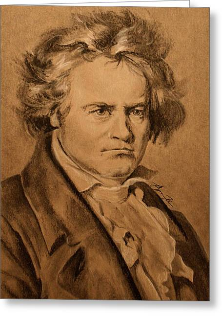 Ludwig Van Beethoven Greeting Card by Alyssa Kerr