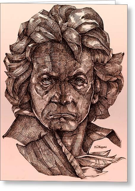 Ludwig Van Beethoven Greeting Card by Derrick Higgins