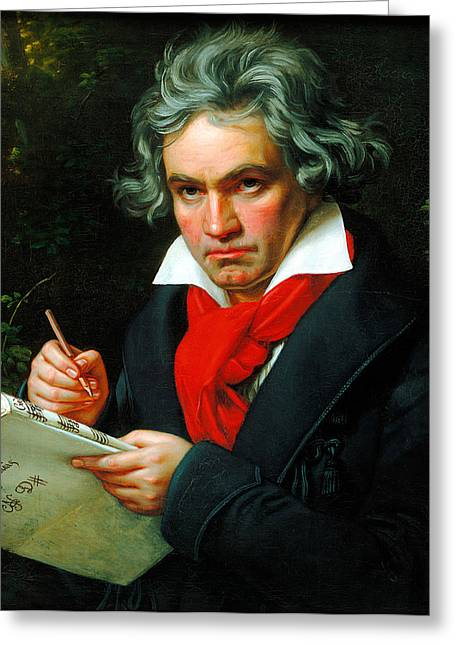 Ludwig Van Beethoven Greeting Card by Celestial Images