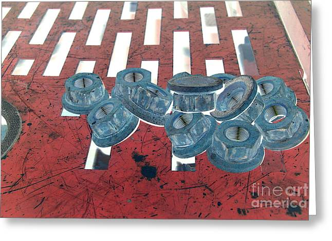 Lug Nuts On Grate Horizontal Greeting Card by Heather Kirk