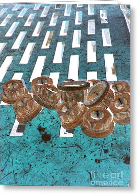 Lug Nuts On Grate Vertical Turquoise Copper Greeting Card by Heather Kirk