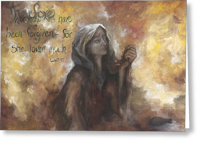 Luke 7 Verse 47 Forgiveness Greeting Card
