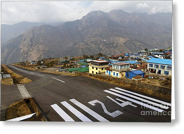 Lukla Airport In The Himalayas Nepal Greeting Card by Robert Preston