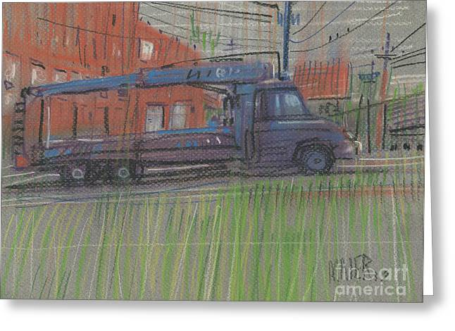 Greeting Card featuring the painting Lumber Truck by Donald Maier
