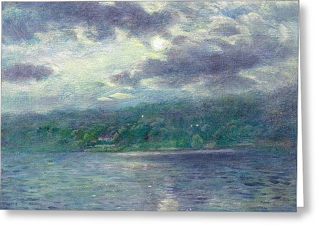 Luminous Moon Over Lake Greeting Card