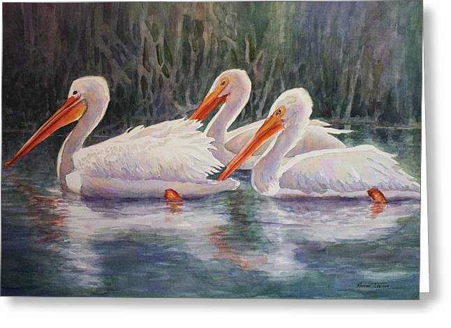 Luminous White Pelicans Greeting Card