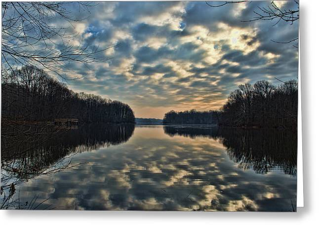 Lums Pond Reflected Greeting Card by Donna Harding