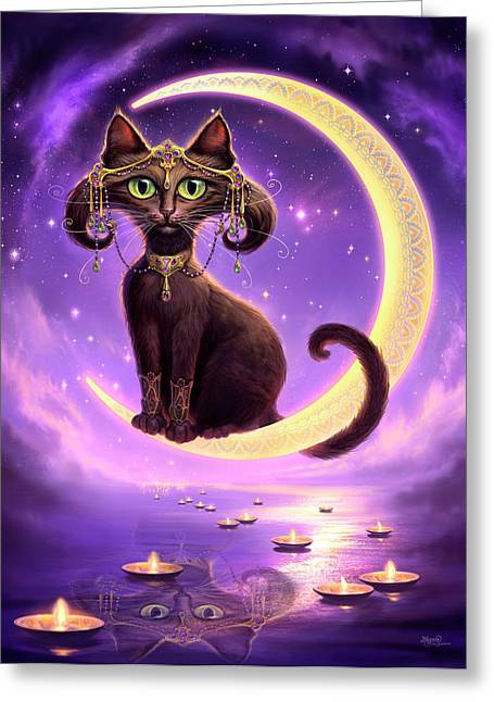 Black Cat Fantasy Greeting Cards - Luna Greeting Card by Jeff Haynie