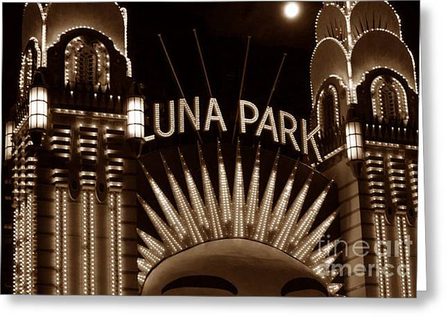 Luna Park Sydney - Sepia Greeting Card by Cheryl Boutwell