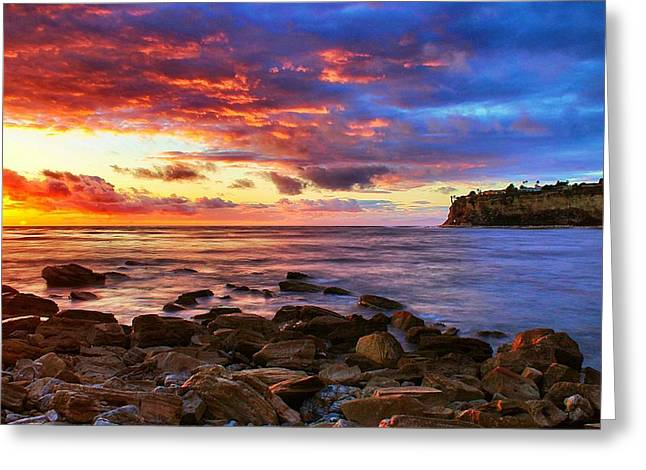 Lunada Bay Sunset Greeting Card by Tom Dupee