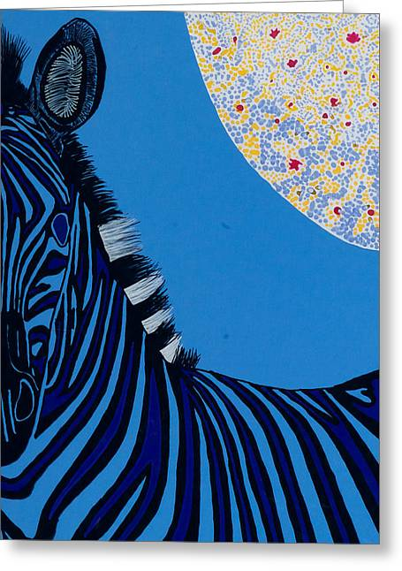 Lunar Blue Zebra Greeting Card by Patrick OLeary