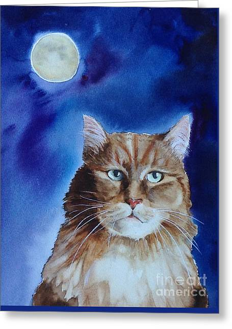 Lunar Cat Greeting Card by Kym Stine