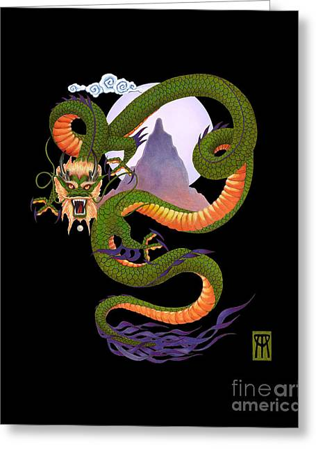 Lunar Chinese Dragon On Black Greeting Card by Melissa A Benson