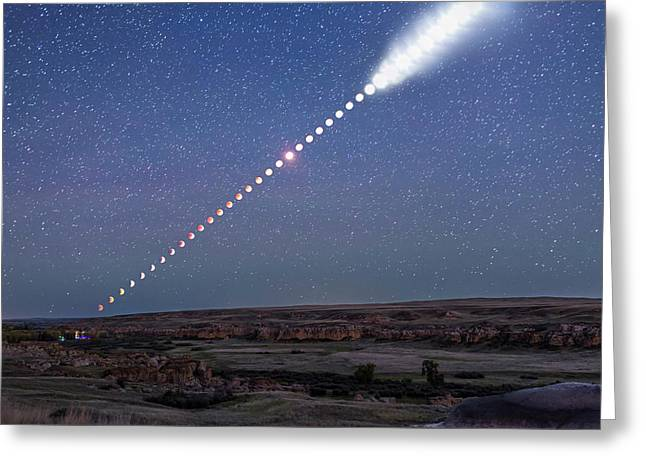 Lunar Eclipse From Beginning To End Greeting Card