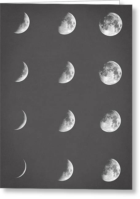 Lunar Phases Greeting Card by Taylan Apukovska