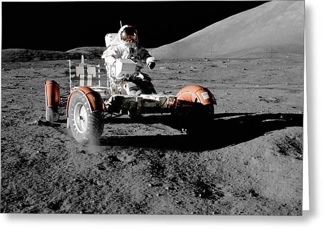 Lunar Ride Greeting Card by Jon Neidert