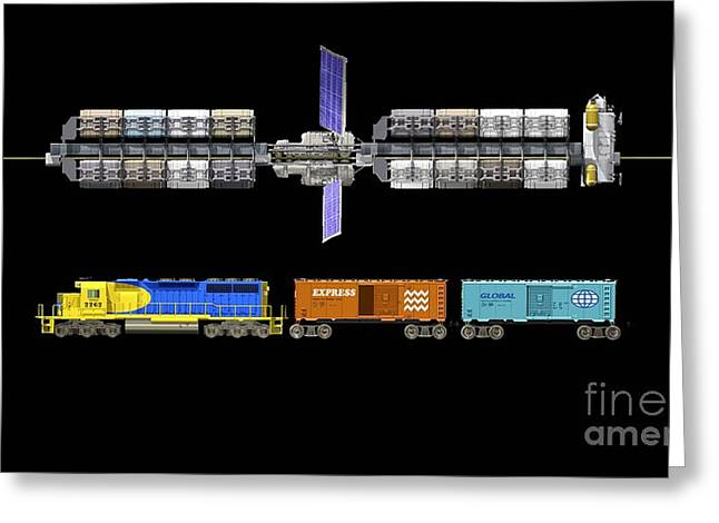 Lunar Space Elevator And Train, Artwork Greeting Card