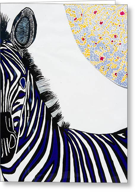 Lunar White Zebra Greeting Card by Patrick OLeary