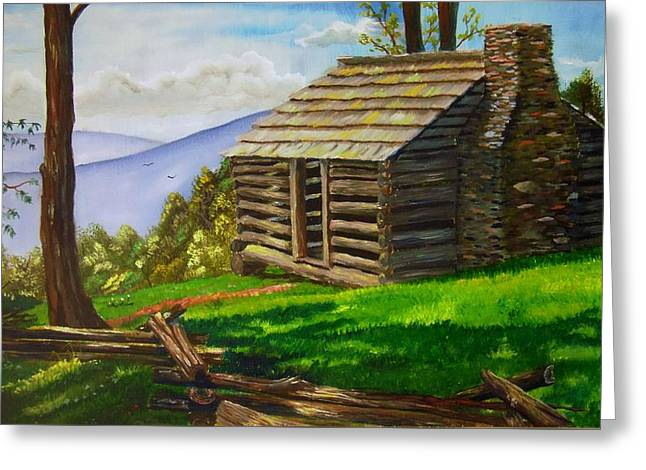 Lunch At An Old Cabin In The Blue Ridge Greeting Card