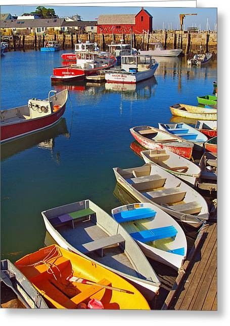 Lunch At The Harbor Greeting Card by Joann Vitali