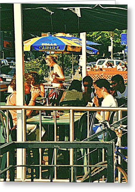 Lunch Party At The La Belle Gueule Brasserie Terrace - Park Your Bike And Enjoy The Sunny Day Greeting Card by Carole Spandau