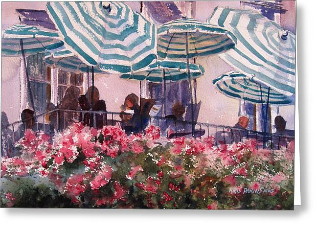 Lunch Under Umbrellas Greeting Card by Kris Parins
